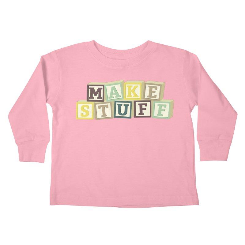 Make Stuff - Brown Kids Toddler Longsleeve T-Shirt by Calobee Doodles