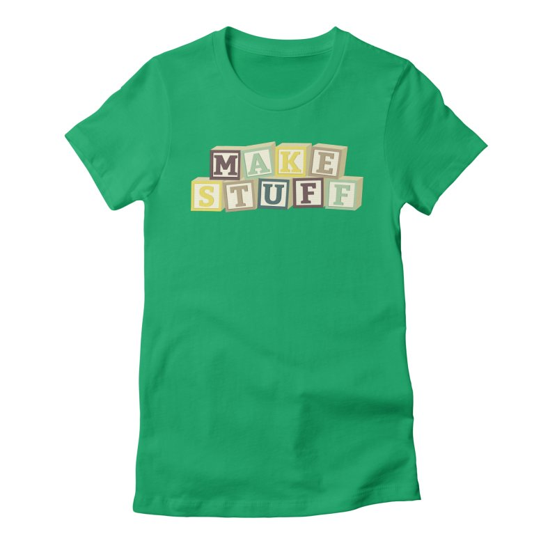 Make Stuff - Brown Women's Fitted T-Shirt by Calobee Doodles