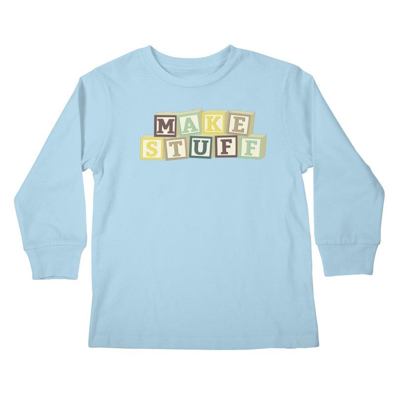 Make Stuff - Brown Kids Longsleeve T-Shirt by Calobee Doodles