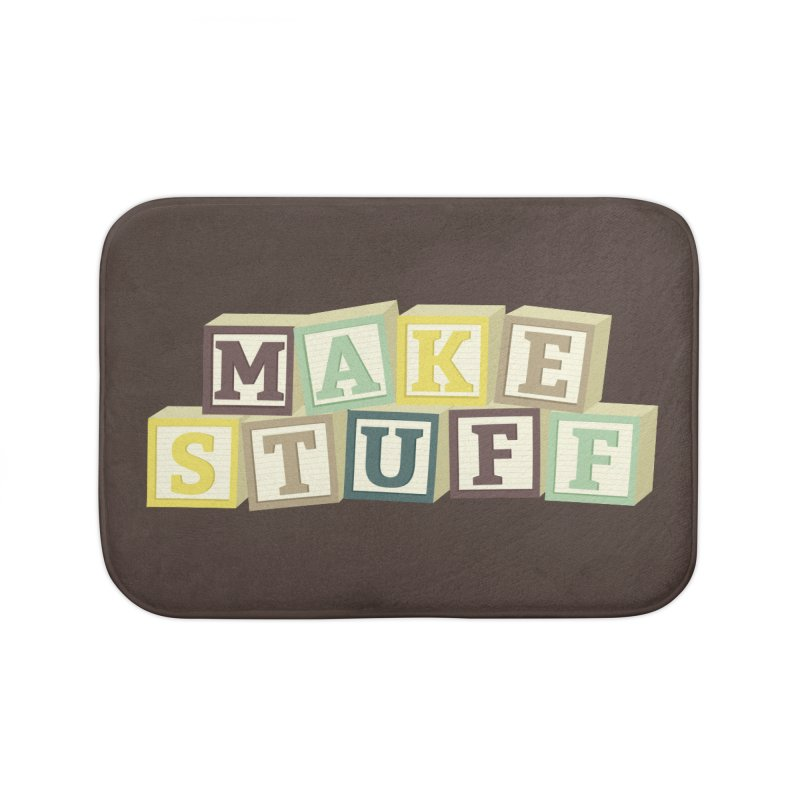 Make Stuff - Brown Home Bath Mat by Calobee Doodles