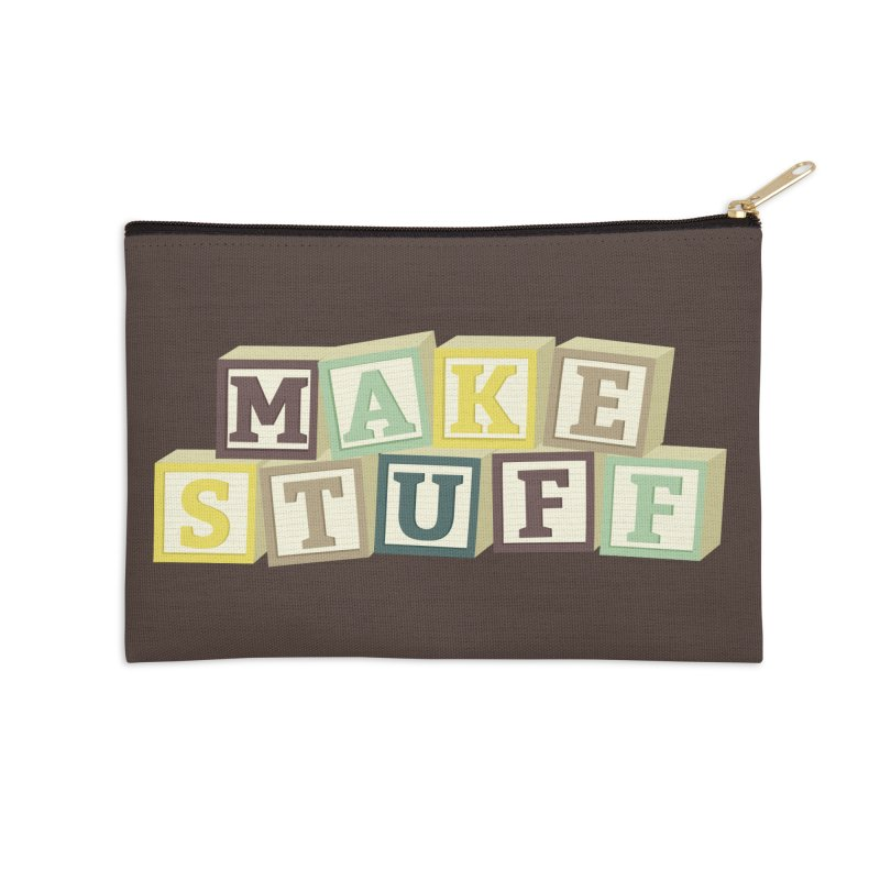 Make Stuff - Brown Accessories Zip Pouch by Calobee Doodles