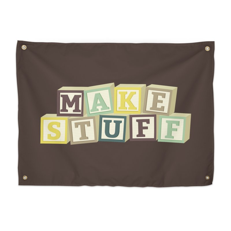 Make Stuff - Brown Home Tapestry by Calobee Doodles