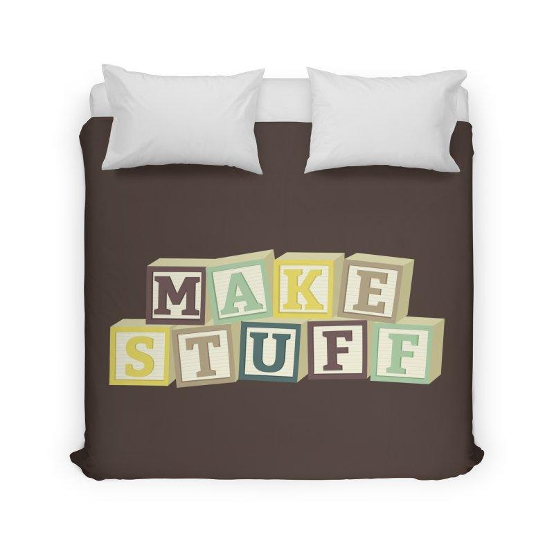 Make Stuff - Brown Home Duvet by Calobee Doodles
