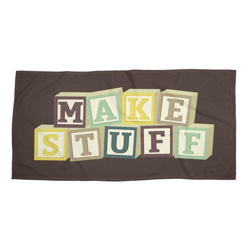 Make Stuff - Brown Accessories Beach Towel by Calobee Doodles