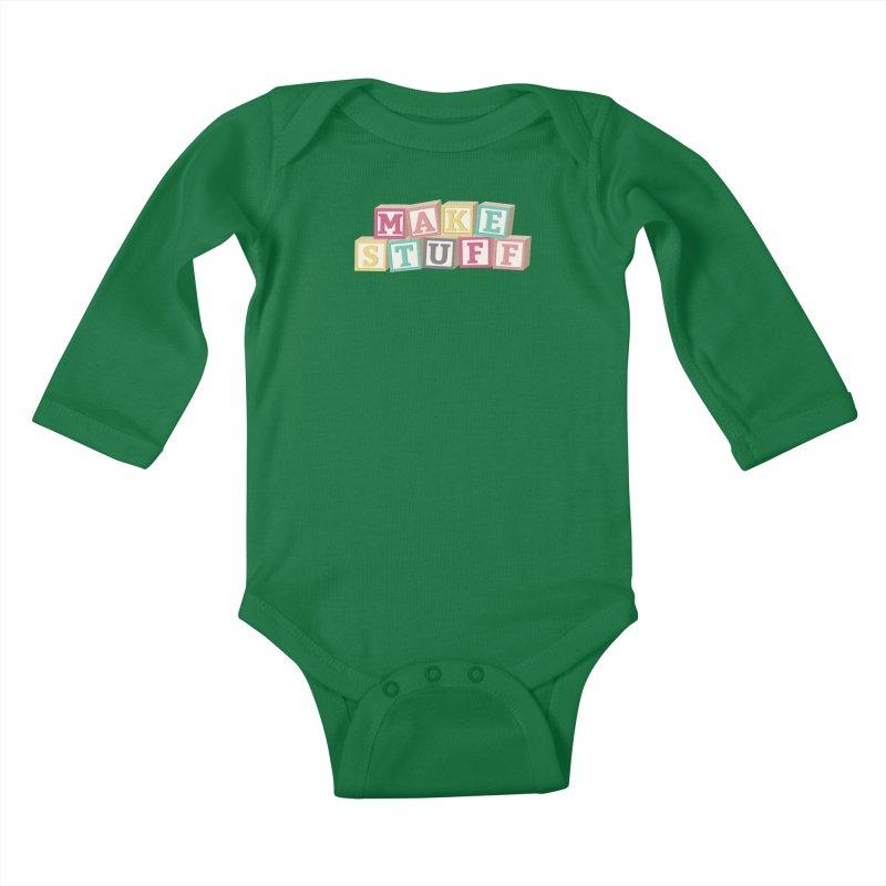 Make Stuff - Pink Kids Baby Longsleeve Bodysuit by Calobee Doodles