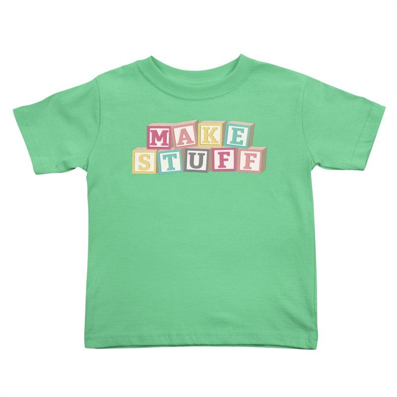 Make Stuff - Pink Kids Toddler T-Shirt by Calobee Doodles