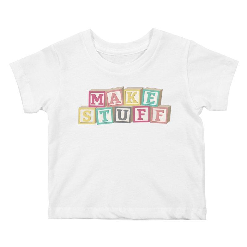 Make Stuff - Pink Kids Baby T-Shirt by Calobee Doodles