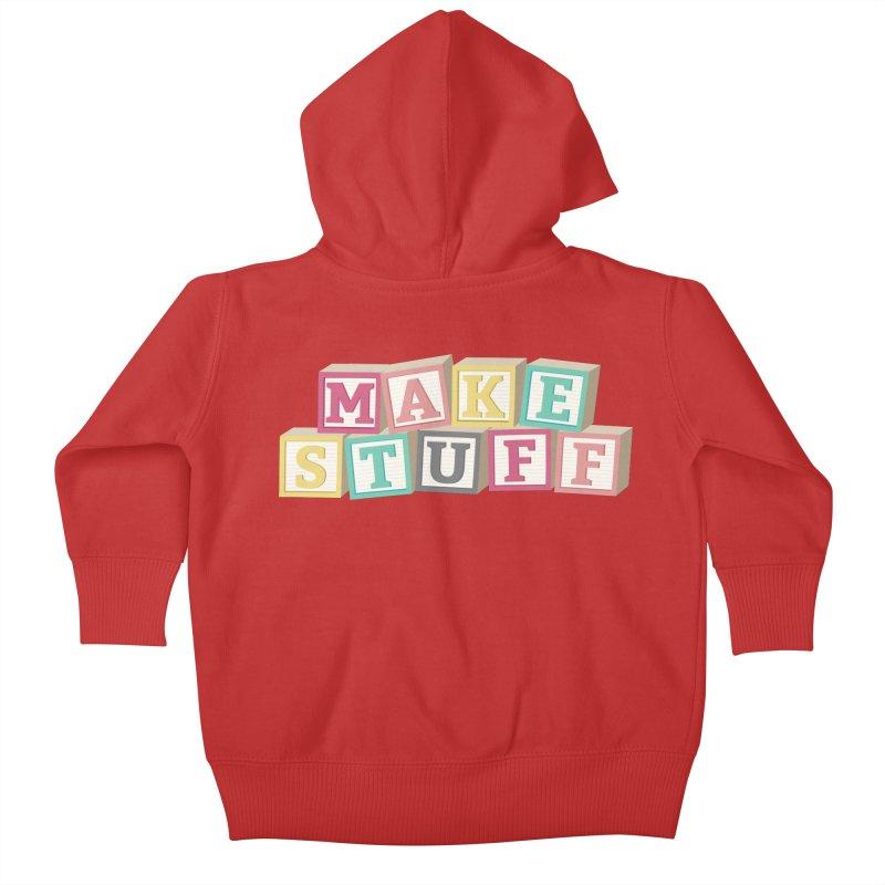 Make Stuff - Pink Kids Baby Zip-Up Hoody by Calobee Doodles