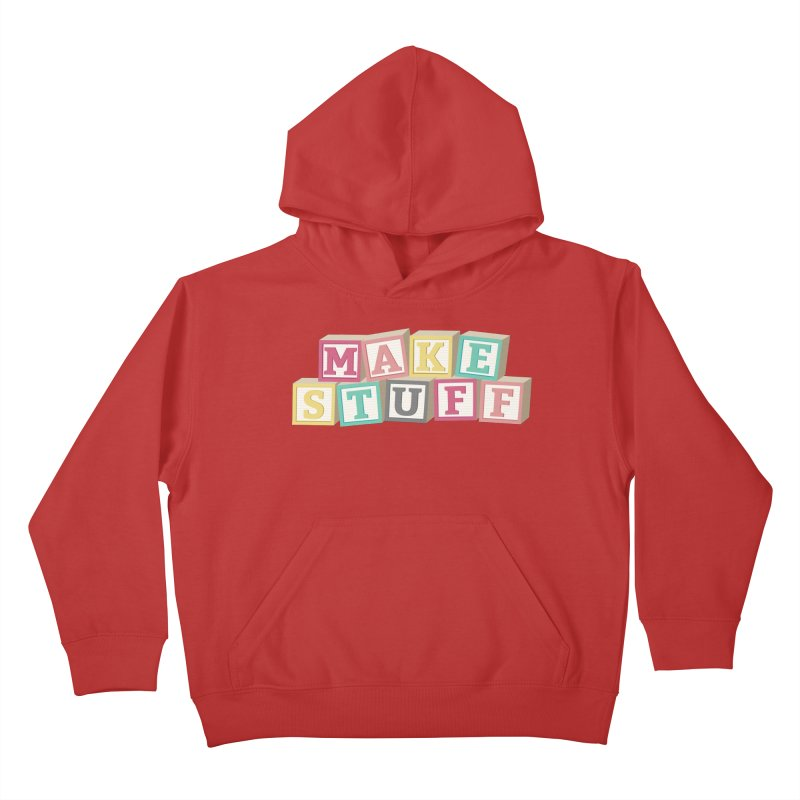 Make Stuff - Pink Kids Pullover Hoody by Calobee Doodles