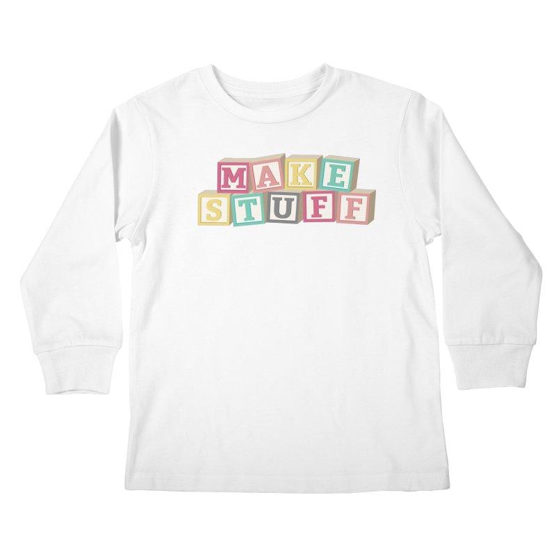 Make Stuff - Pink Kids Longsleeve T-Shirt by Calobee Doodles