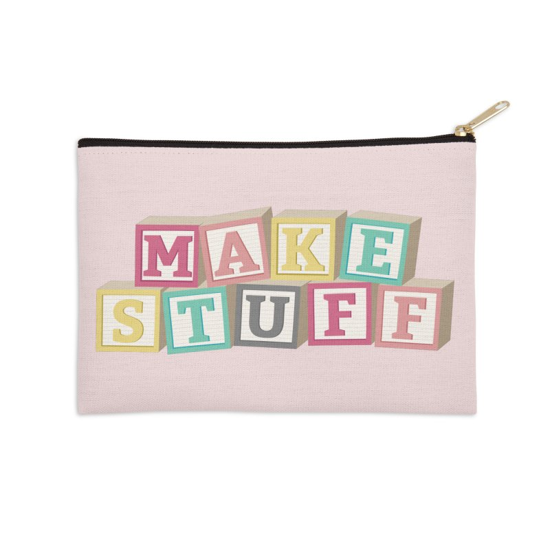 Make Stuff - Pink Accessories Zip Pouch by Calobee Doodles