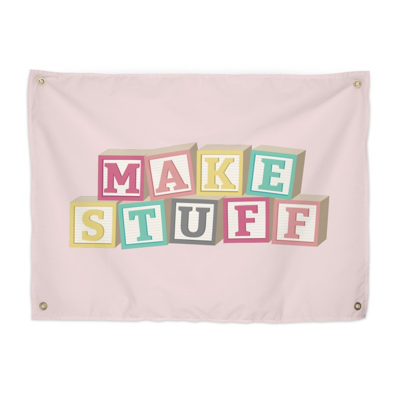 Make Stuff - Pink Home Tapestry by Calobee Doodles