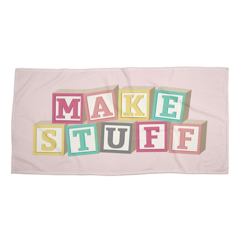 Make Stuff - Pink Accessories Beach Towel by Calobee Doodles