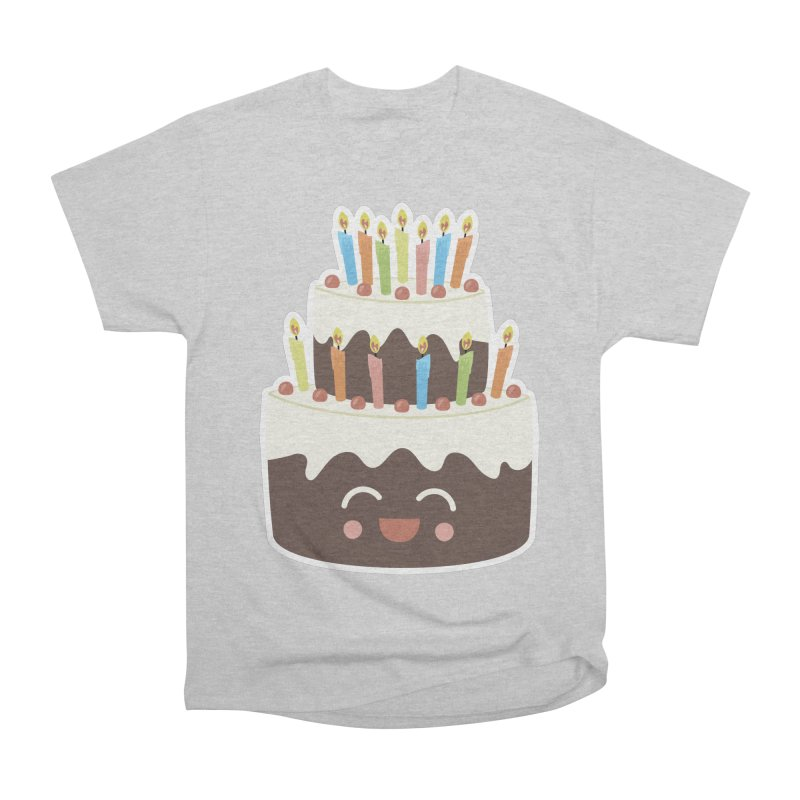 Happy Happy Birthday Cake in Chocolate Women's Classic Unisex T-Shirt by Calobee Doodles
