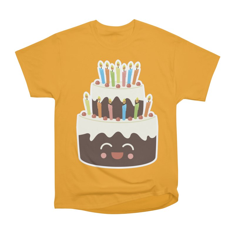 Happy Happy Birthday Cake in Chocolate Men's Classic T-Shirt by Calobee Doodles