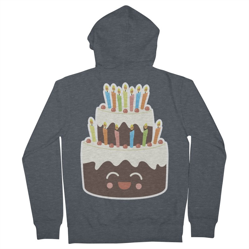 Happy Happy Birthday Cake in Chocolate Men's Zip-Up Hoody by Calobee Doodles
