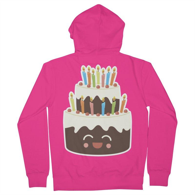 Happy Happy Birthday Cake in Chocolate Men's Zip-Up Hoody by Calobee Doodles