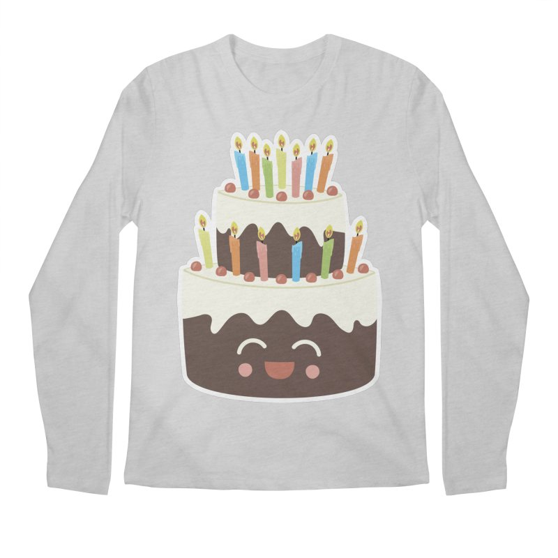 Happy Happy Birthday Cake in Chocolate Men's Longsleeve T-Shirt by Calobee Doodles
