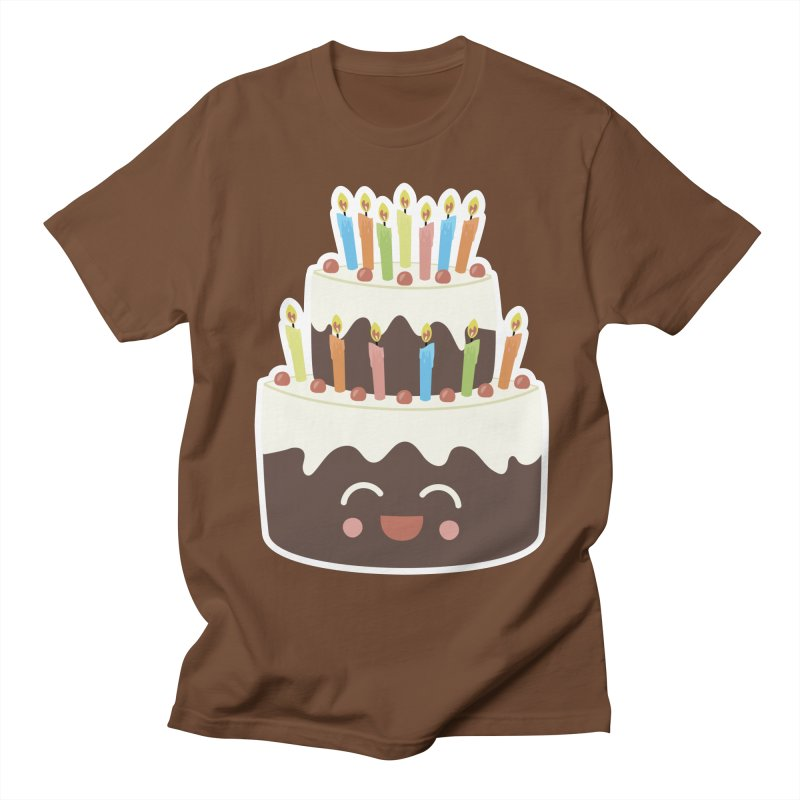 Happy Happy Birthday Cake in Chocolate Women's Unisex T-Shirt by Calobee Doodles