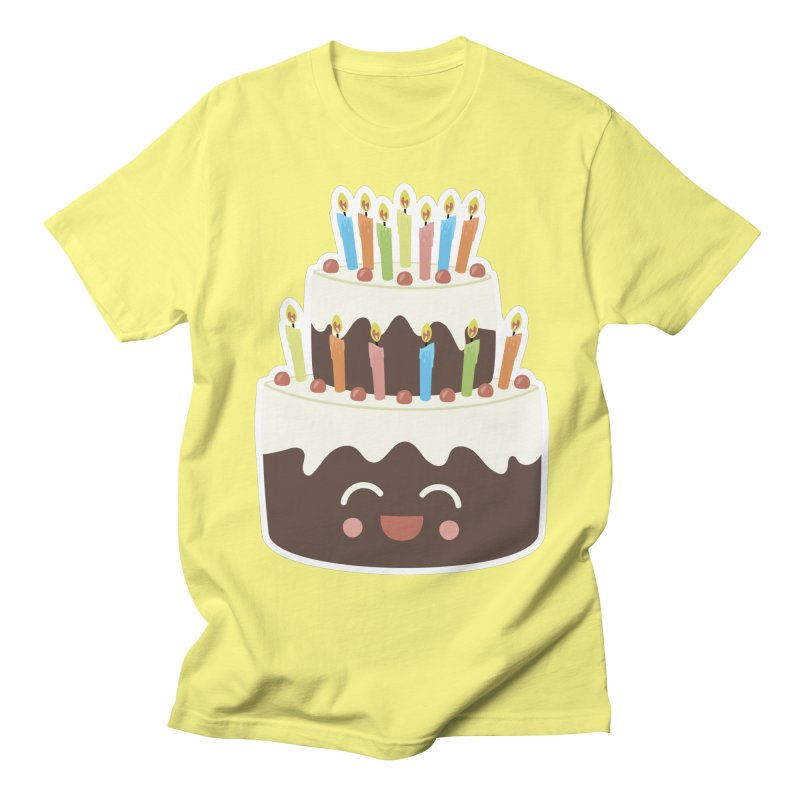 Happy Happy Birthday Cake in Chocolate Men's T-Shirt by Calobee Doodles