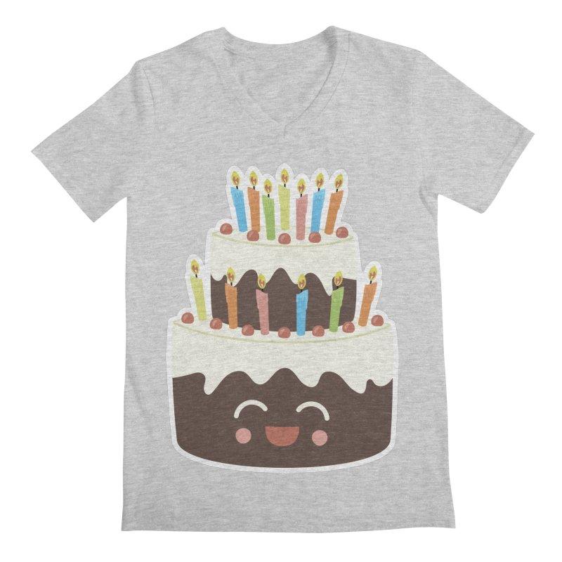Happy Happy Birthday Cake in Chocolate Men's V-Neck by Calobee Doodles
