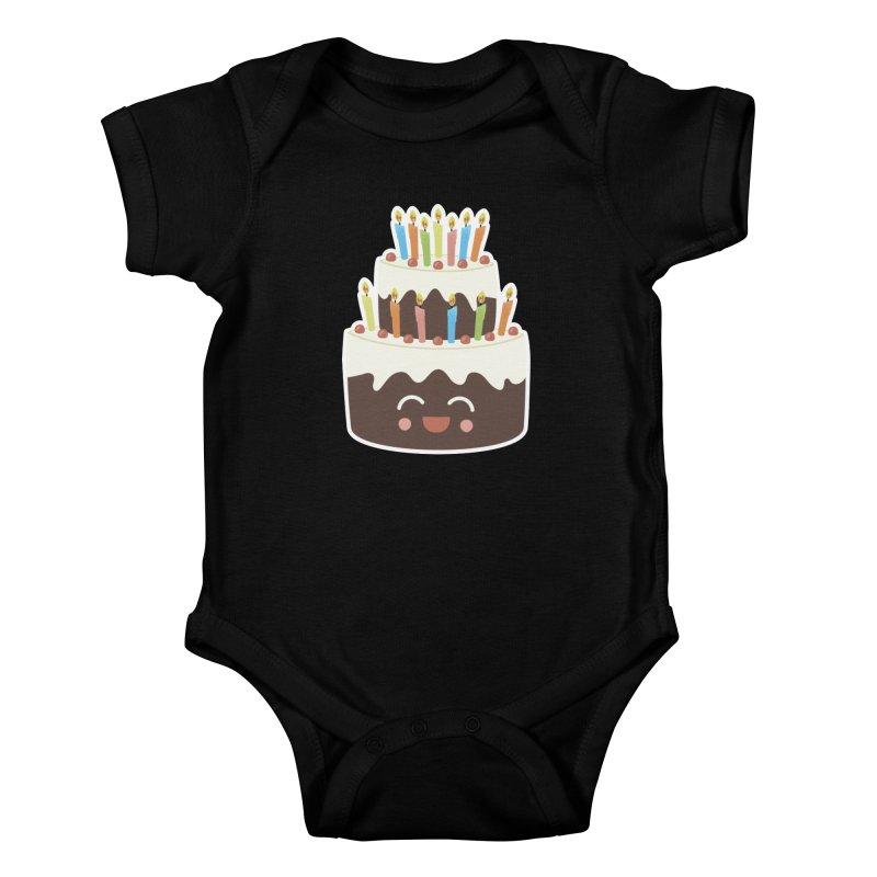 Happy Happy Birthday Cake in Chocolate Kids Baby Bodysuit by Calobee Doodles