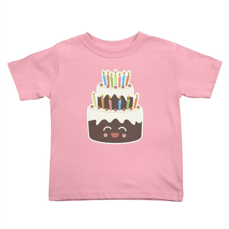 Happy Happy Birthday Cake in Chocolate Kids Toddler T-Shirt by Calobee Doodles