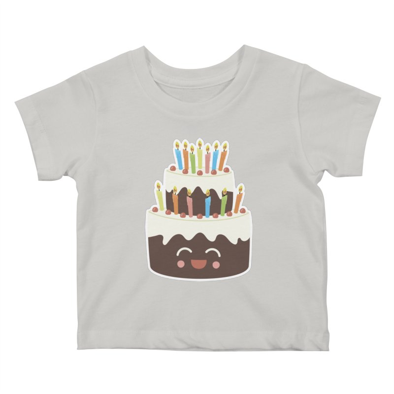 Happy Happy Birthday Cake in Chocolate Kids Baby T-Shirt by Calobee Doodles