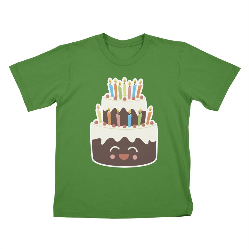 Happy Happy Birthday Cake in Chocolate Kids T-Shirt by Calobee Doodles