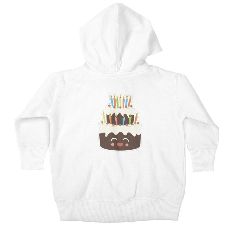 Happy Happy Birthday Cake in Chocolate Kids Baby Zip-Up Hoody by Calobee Doodles