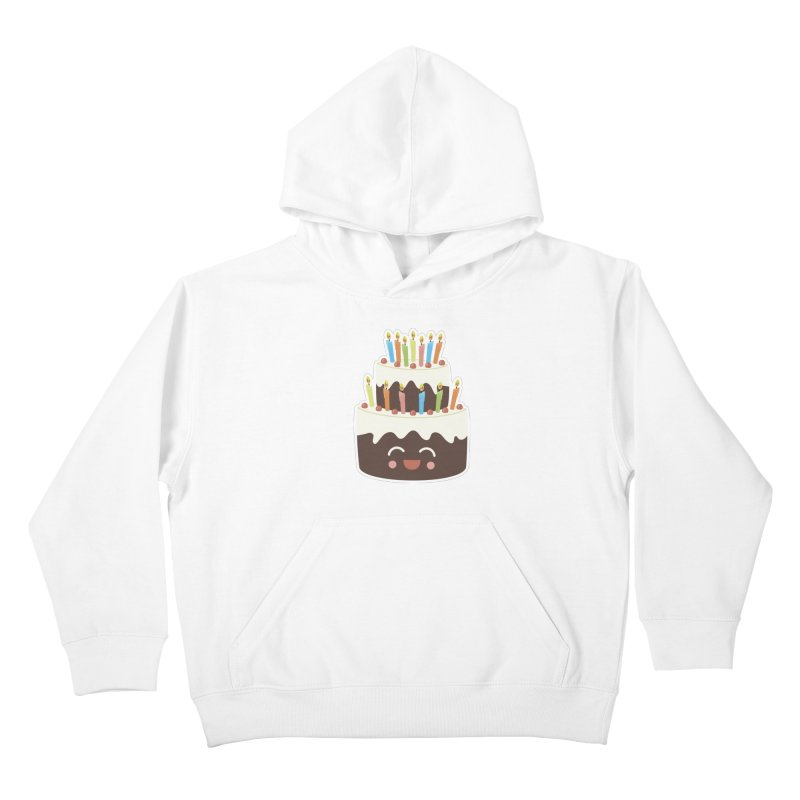 Happy Happy Birthday Cake in Chocolate Kids Pullover Hoody by Calobee Doodles
