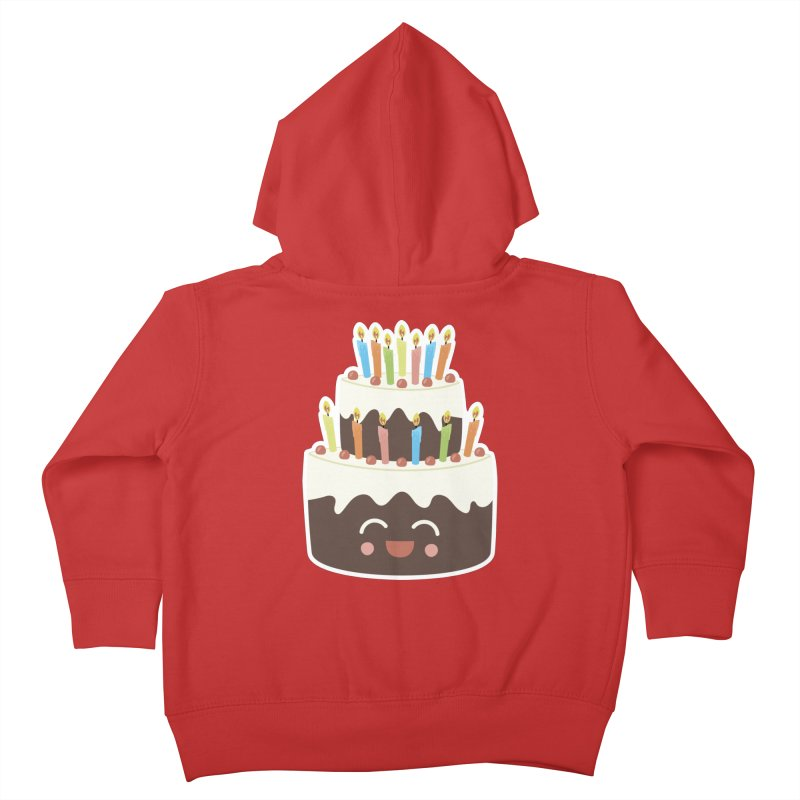 Happy Happy Birthday Cake in Chocolate Kids Toddler Zip-Up Hoody by Calobee Doodles
