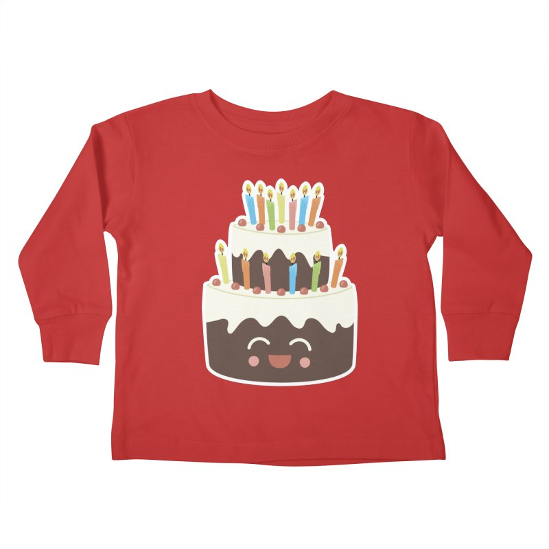 Happy Happy Birthday Cake in Chocolate Kids Toddler Longsleeve T-Shirt by Calobee Doodles