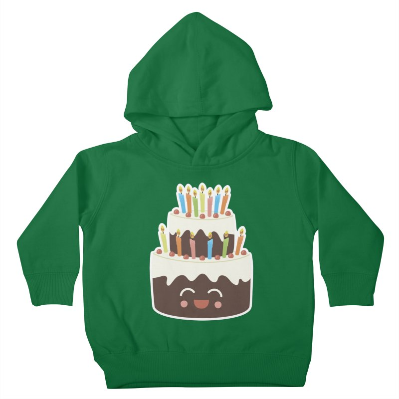 Happy Happy Birthday Cake in Chocolate Kids Toddler Pullover Hoody by Calobee Doodles