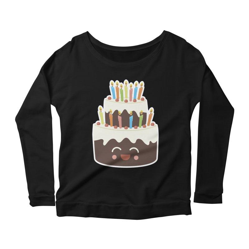 Happy Happy Birthday Cake in Chocolate Women's Longsleeve Scoopneck  by Calobee Doodles