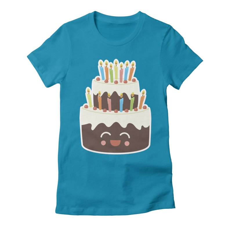 Happy Happy Birthday Cake in Chocolate Women's Fitted T-Shirt by Calobee Doodles