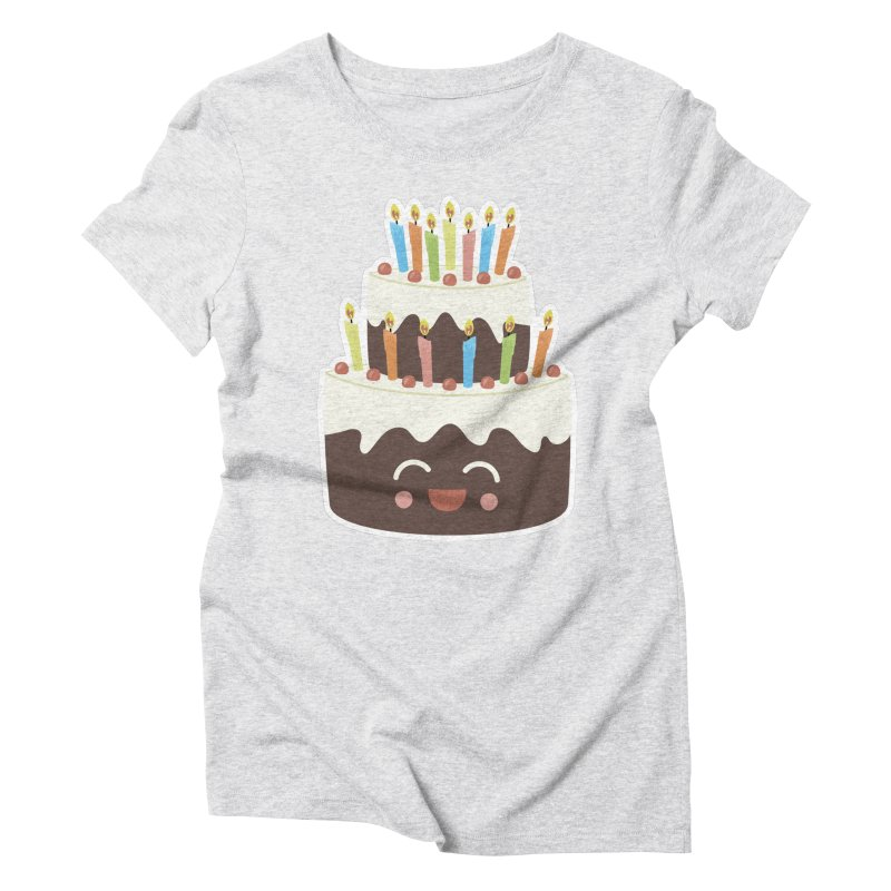 Happy Happy Birthday Cake in Chocolate Women's Triblend T-Shirt by Calobee Doodles