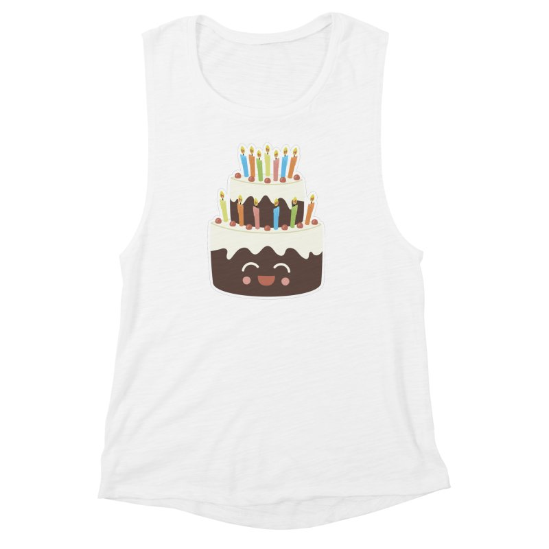 Happy Happy Birthday Cake in Chocolate Women's Muscle Tank by Calobee Doodles