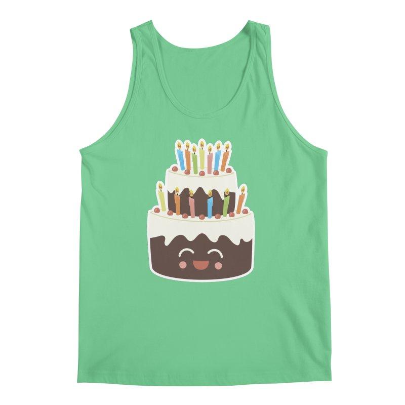 Happy Happy Birthday Cake in Chocolate Men's Tank by Calobee Doodles