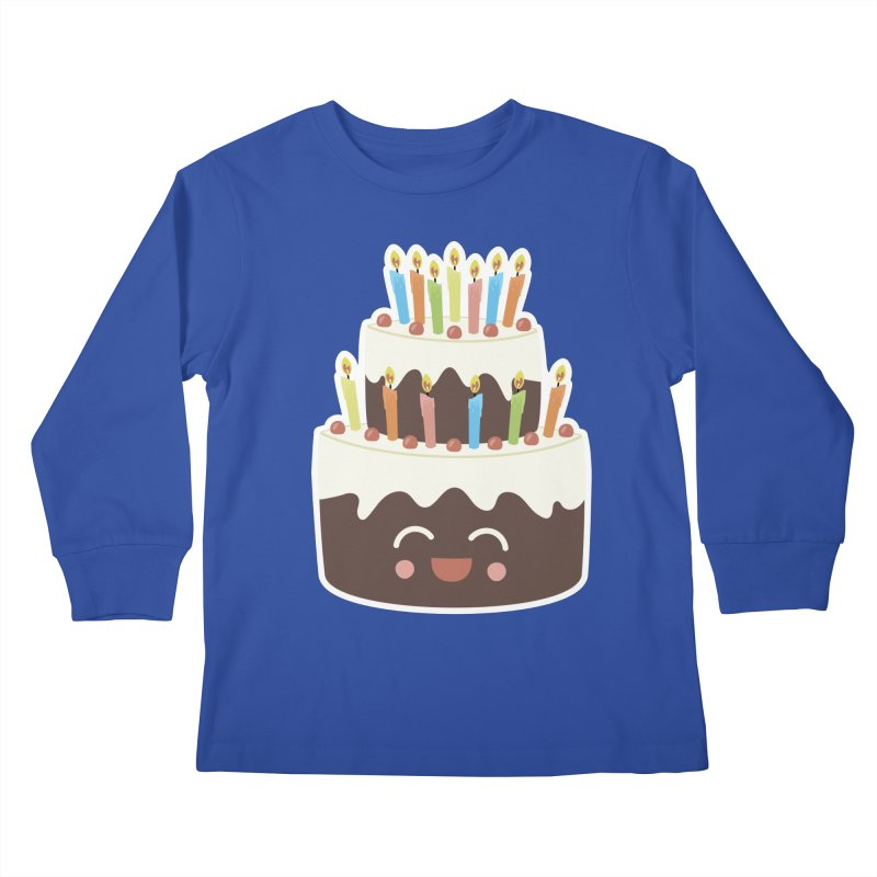 Happy Happy Birthday Cake in Chocolate Kids Longsleeve T-Shirt by Calobee Doodles
