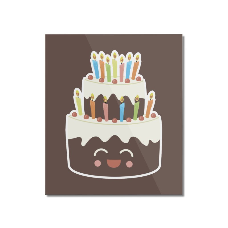Happy Happy Birthday Cake in Chocolate Home Mounted Acrylic Print by Calobee Doodles