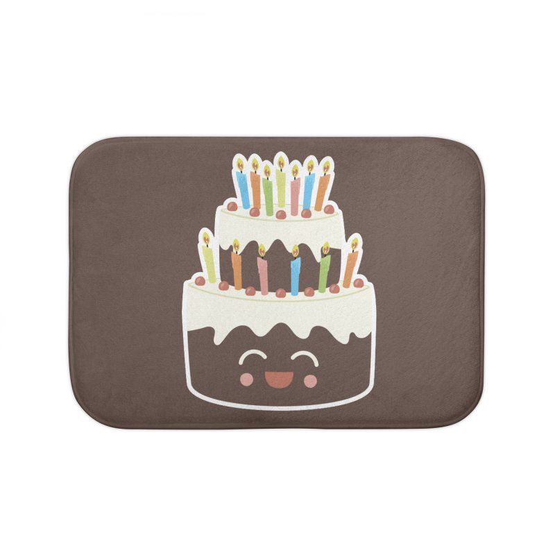 Happy Happy Birthday Cake in Chocolate Home Bath Mat by Calobee Doodles