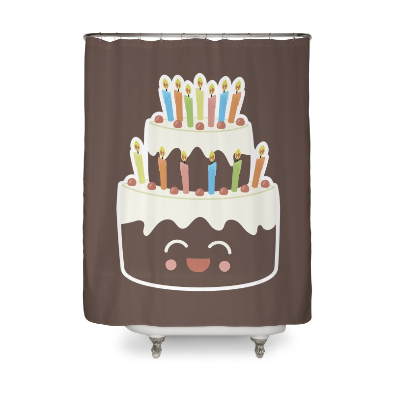 Happy Happy Birthday Cake in Chocolate Home Shower Curtain by Calobee Doodles