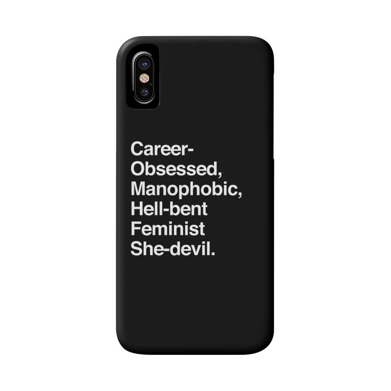 Career-Obsessed Banshee / Manophobic Hell-Bent Feminist She-Devil - Light on Dark Accessories Phone Case by Calobee Doodles