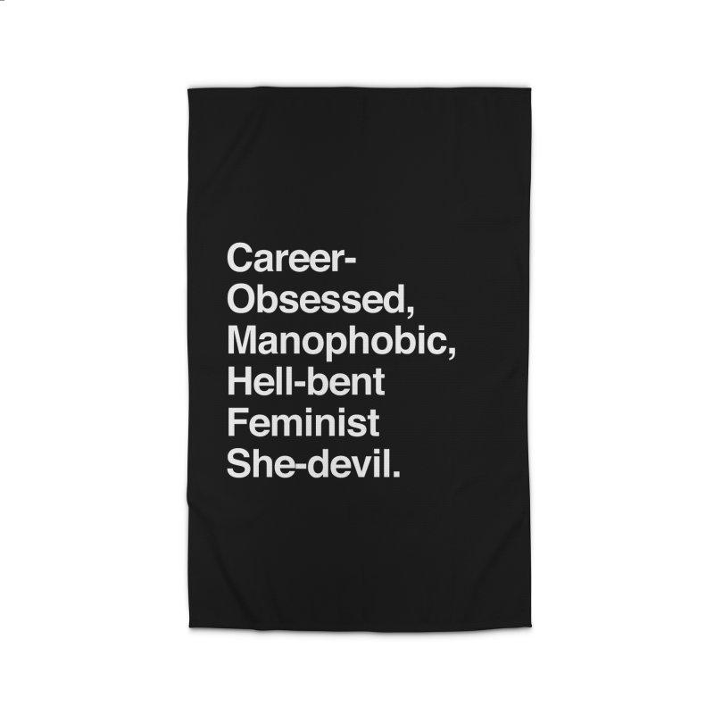 Career-Obsessed Banshee / Manophobic Hell-Bent Feminist She-Devil - Light on Dark Home Rug by Calobee Doodles