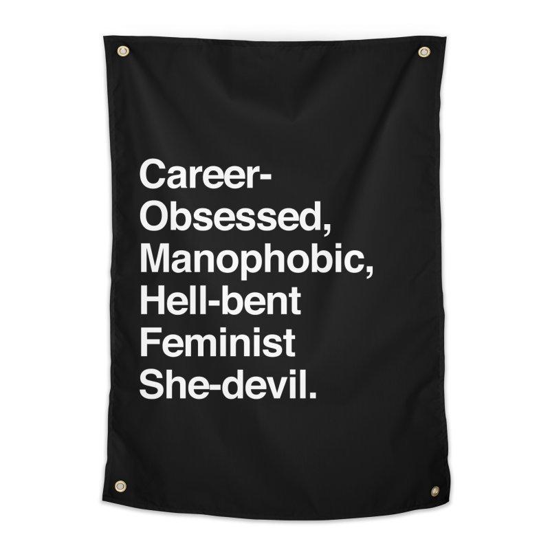 Career-Obsessed Banshee / Manophobic Hell-Bent Feminist She-Devil - Light on Dark Home Tapestry by Calobee Doodles