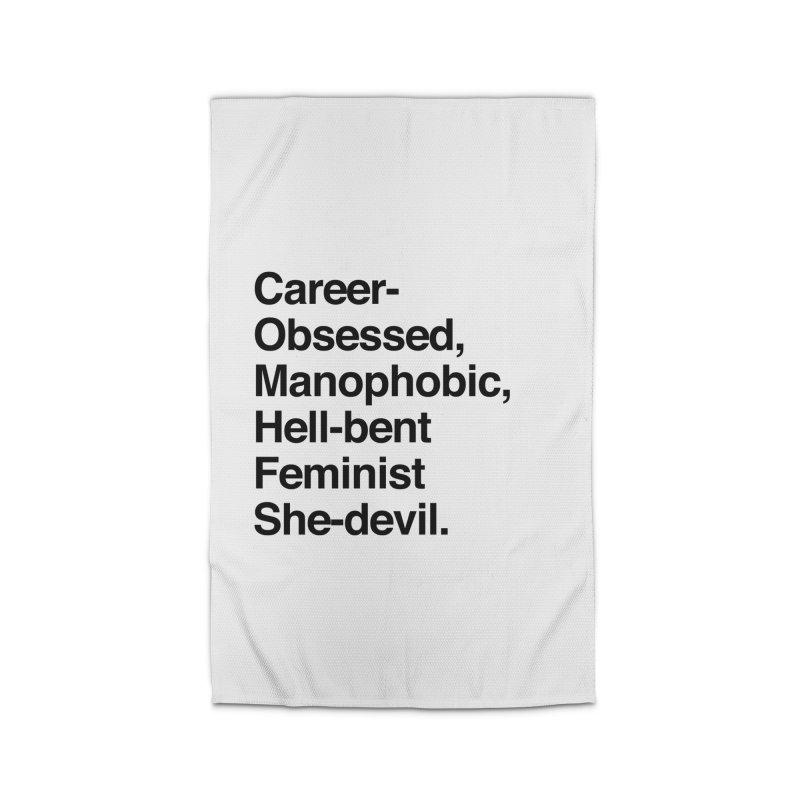 Career-Obsessed Banshee / Manophobic Hell-Bent Feminist She-Devil - Dark on Light Home Rug by Calobee Doodles