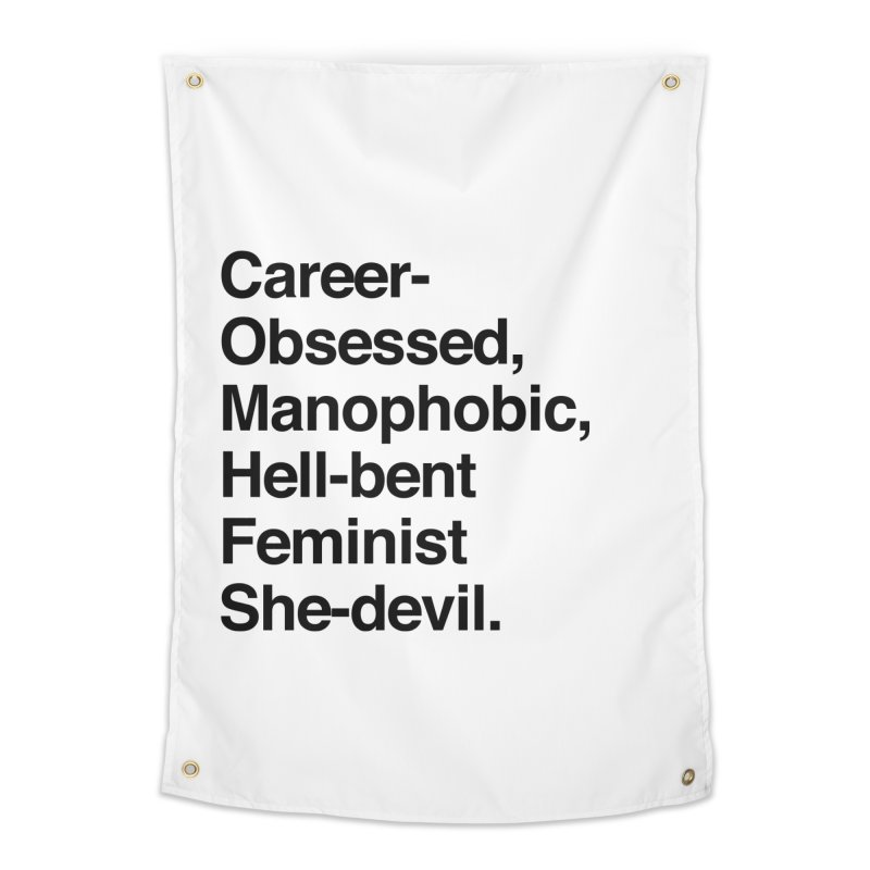 Career-Obsessed Banshee / Manophobic Hell-Bent Feminist She-Devil - Dark on Light Home Tapestry by Calobee Doodles