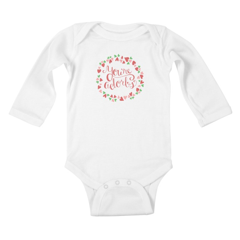 You're Adorbs - X-Files-Inspired Valentine Kids Baby Longsleeve Bodysuit by Calobee Doodles