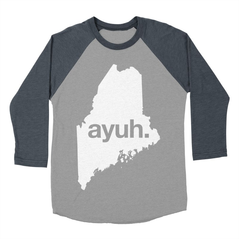 Ayuh - The Maine Word Men's Baseball Triblend T-Shirt by Calobee Doodles